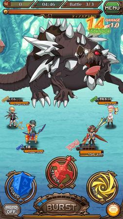 ドラゴンとバトル中の画面